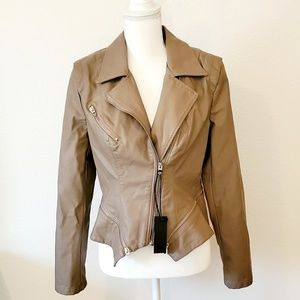 Fall / Winter Faux Leather Moto Jacket, L, Sand